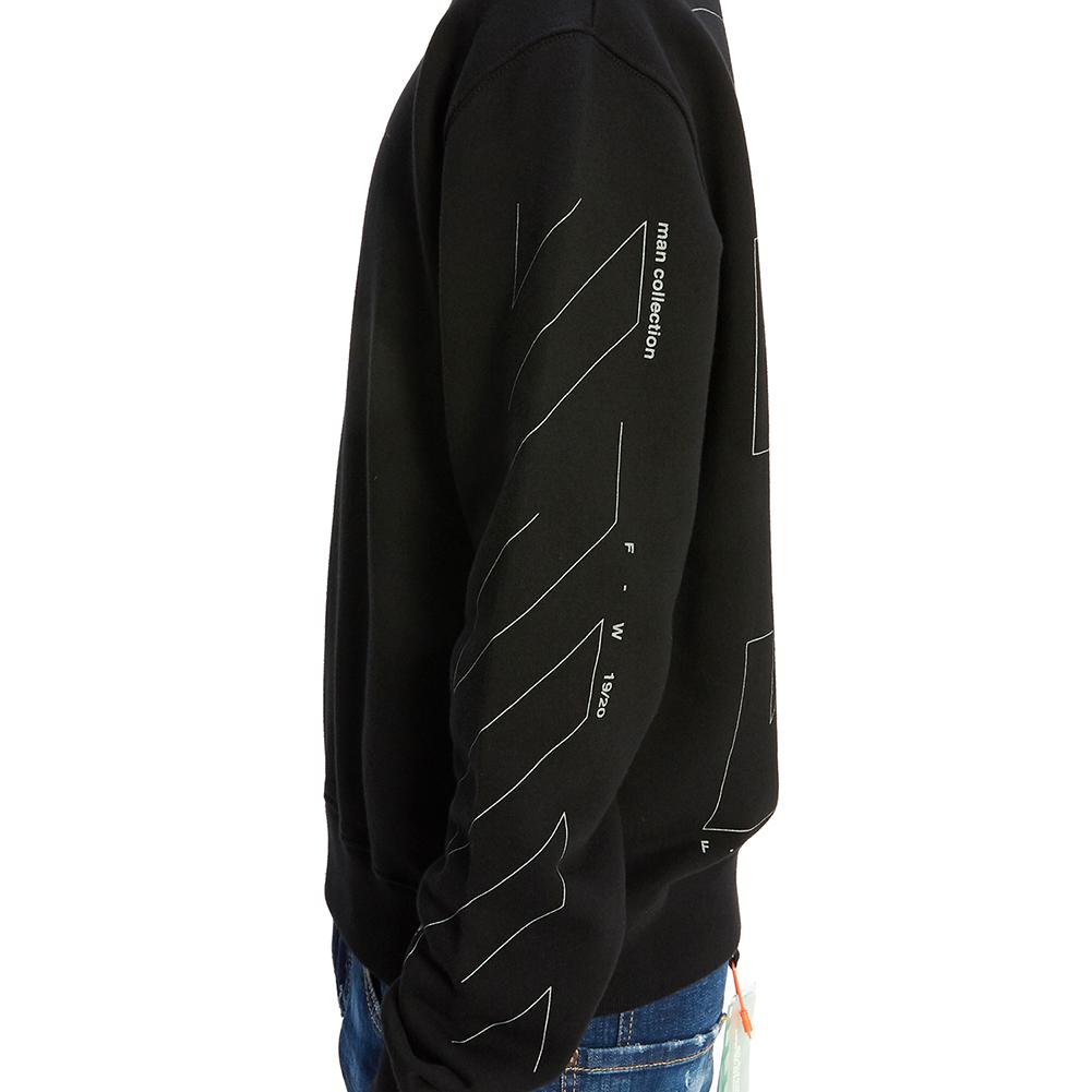 오프 화이트(Off White) 디아그 언피니시드 슬림 OMBA025E 19E30003 1091 남자 긴팔 기모 맨투맨 티셔츠
