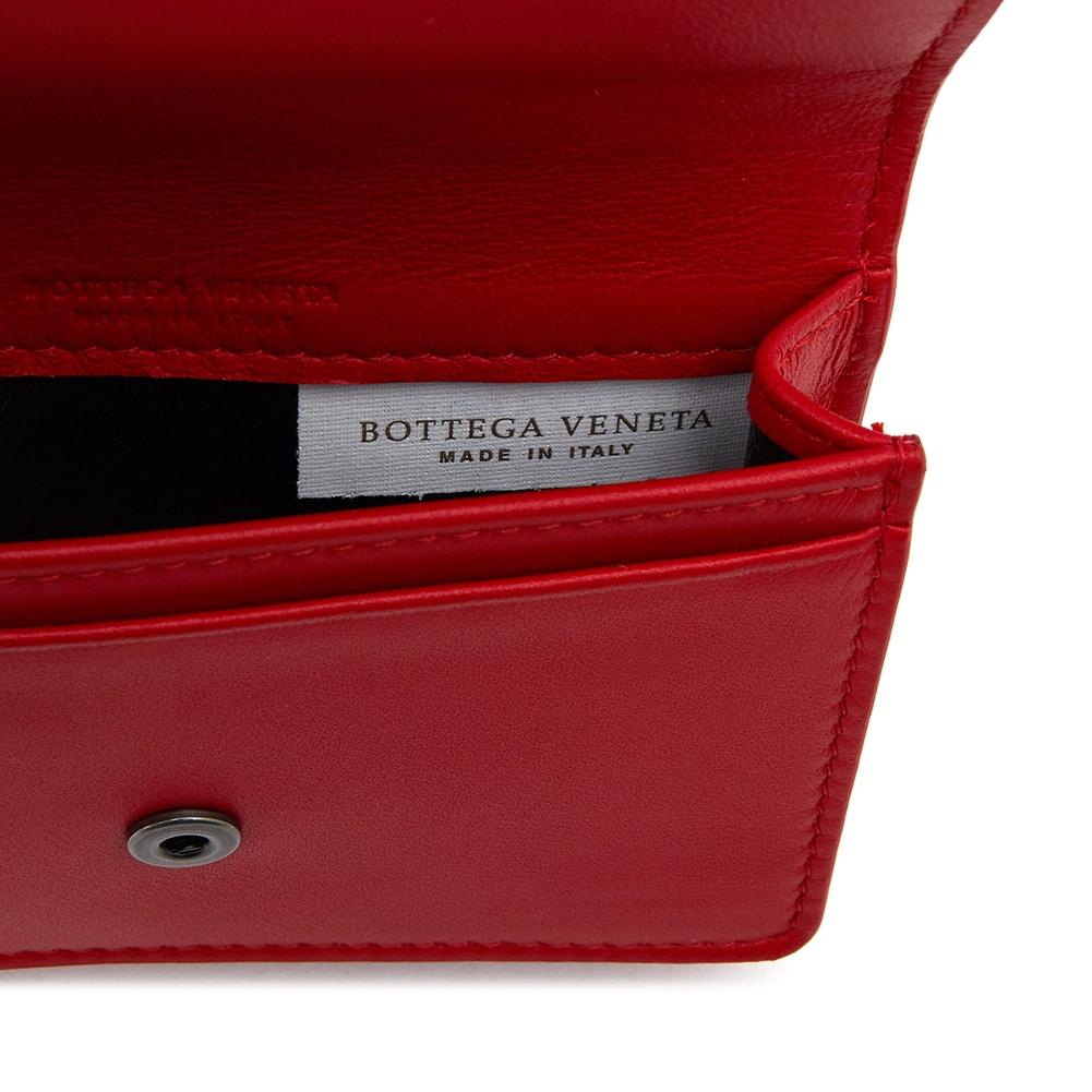 보테가베네타(BOTTEGA VENETA) 브라이트 레드 인트레치아토 133945 V001U 8913 공용 명함/카드지갑
