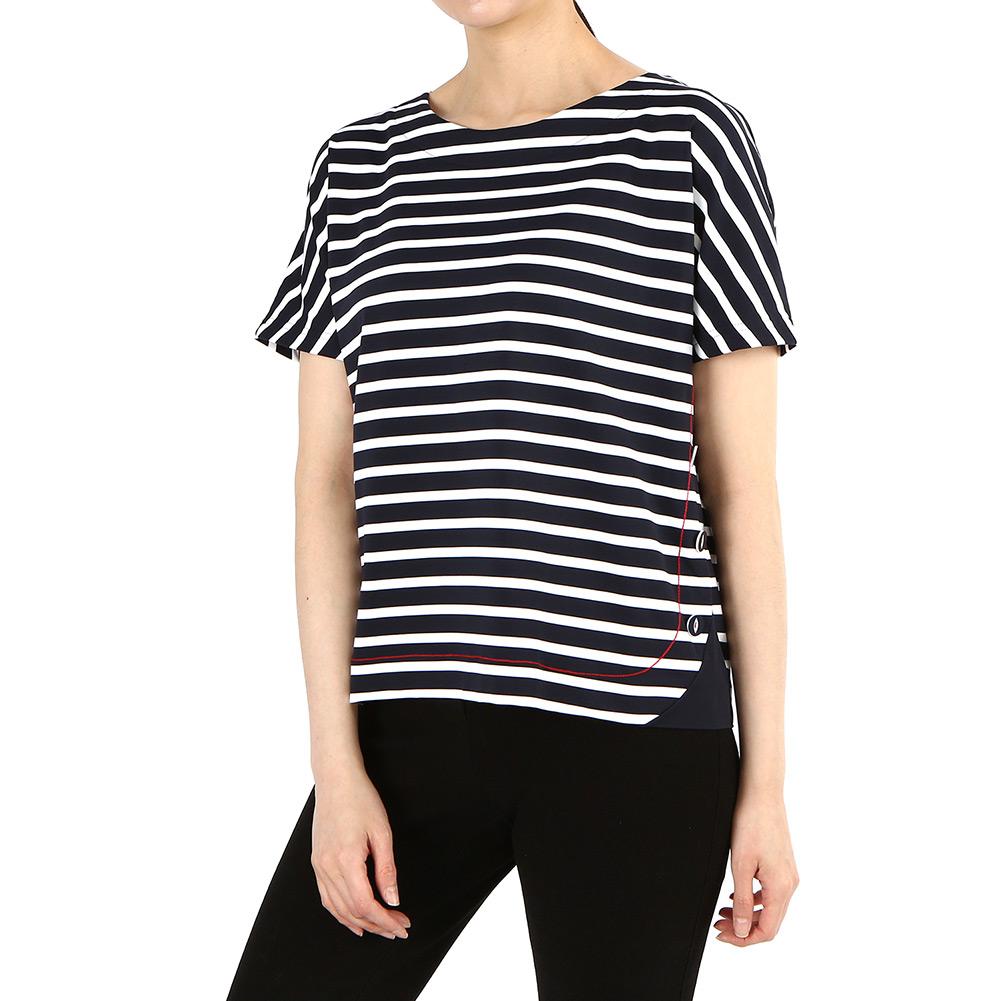 세인트제임스(SAINT JAMES) 꼬냑 스트라이프 5100 6T 여자 반팔티셔츠